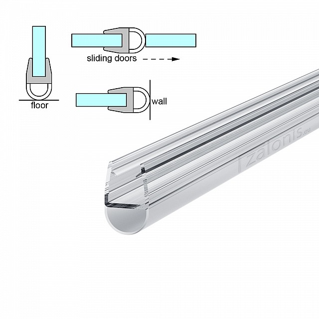 D SHAPED SHOWER DOOR SEAL FOR 8-10mm GLASS